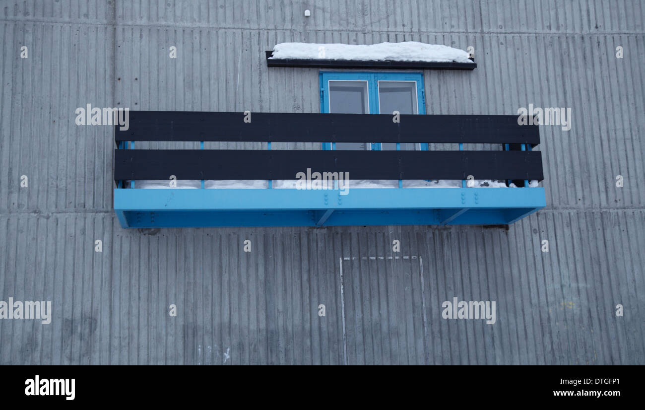 Balcony. Blue and grey and black. Nuuk. Greenland - Stock Image