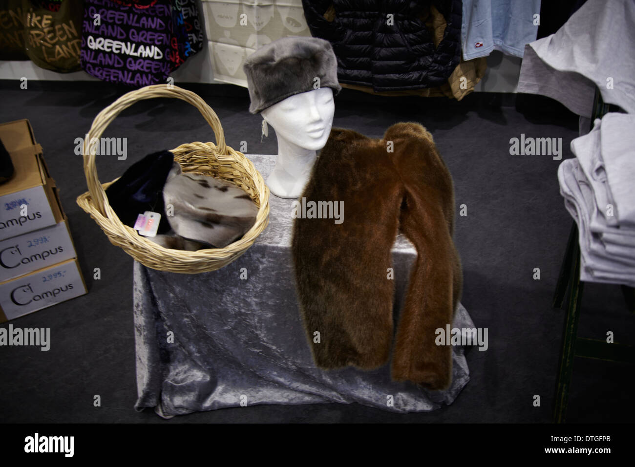 Clothes of seal and blue fox exposed in a workshop at the National Museum in Nuuk City, Greenland - Stock Image