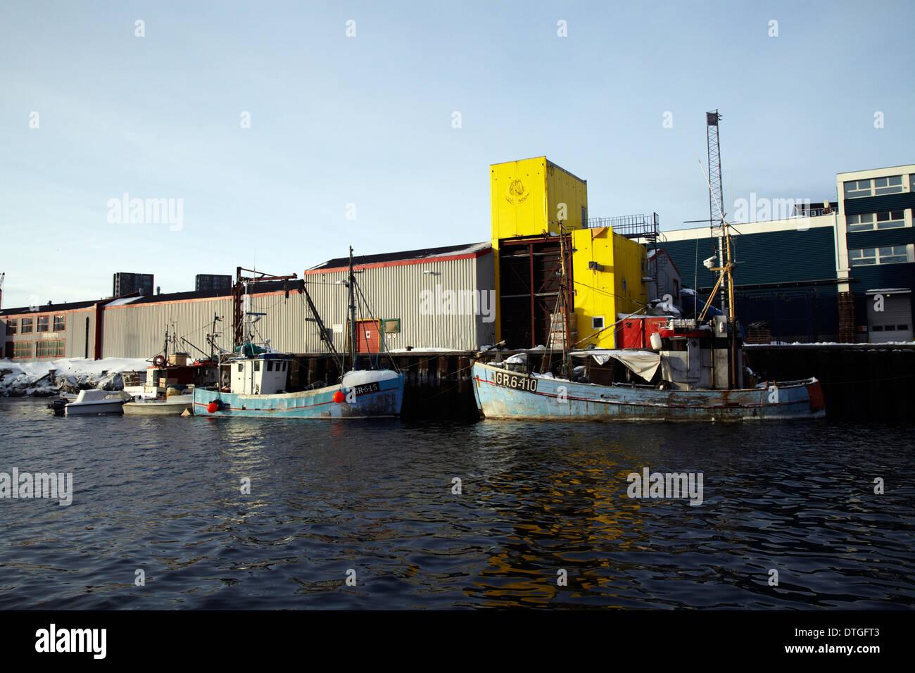 Fishing boats at the harbor of Nuuk city, Greenland - Stock Image