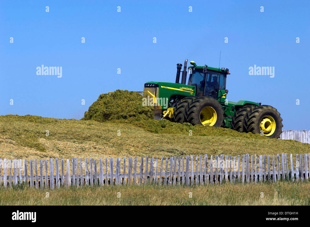 Moving manure at feedlot outside Pincher Creek, Alberta, Canada. - Stock Image