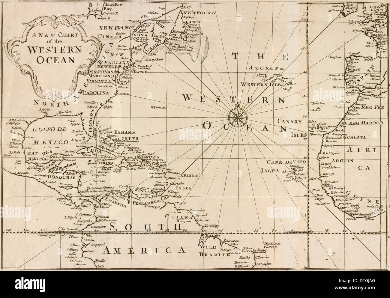 Map of Western Ocean Stock Photo