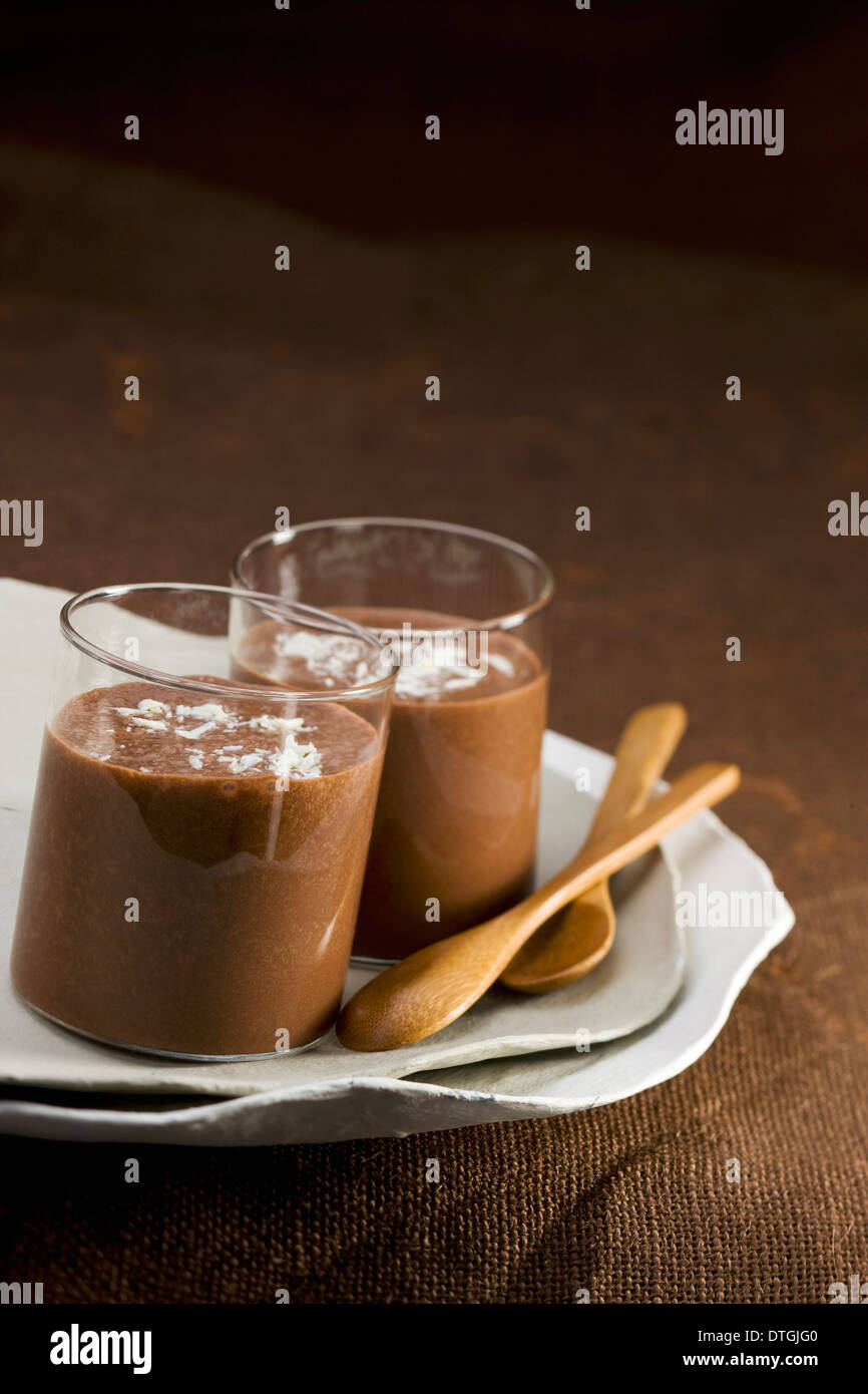 Chocolate,coconut and banana milk shake - Stock Image