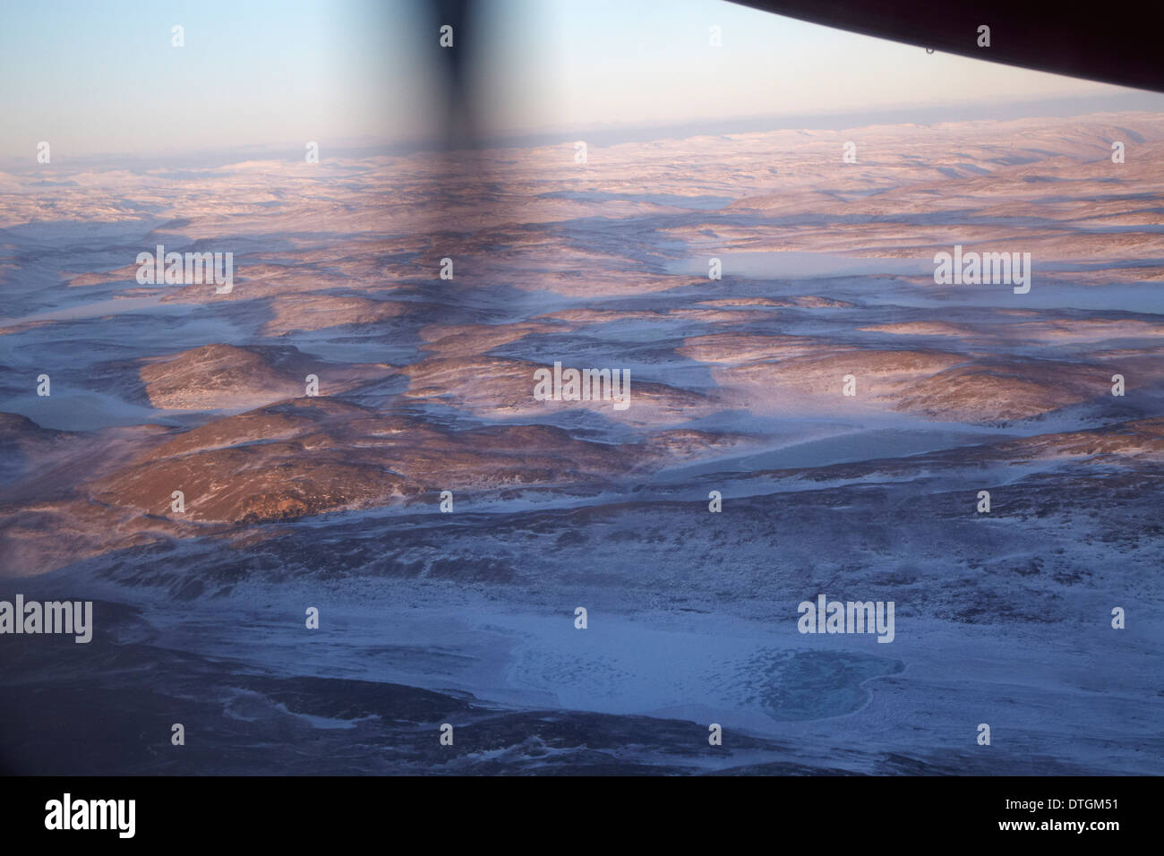 Greenland. View from an aircraft over Greenland's melting icebergs. - Stock Image
