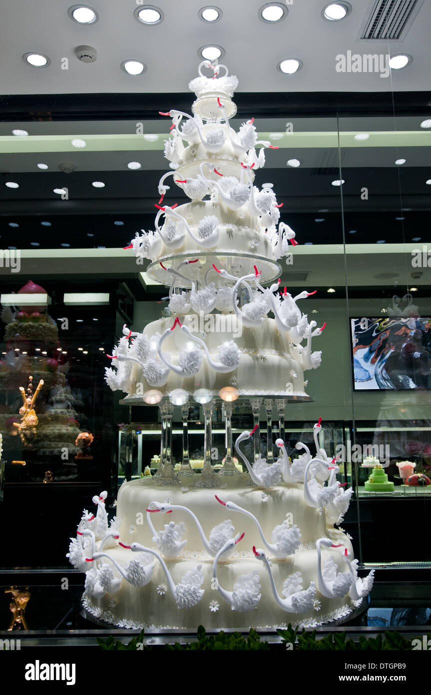 Most expensive wedding cake in Black Swan Luxury Cake shop in Stock