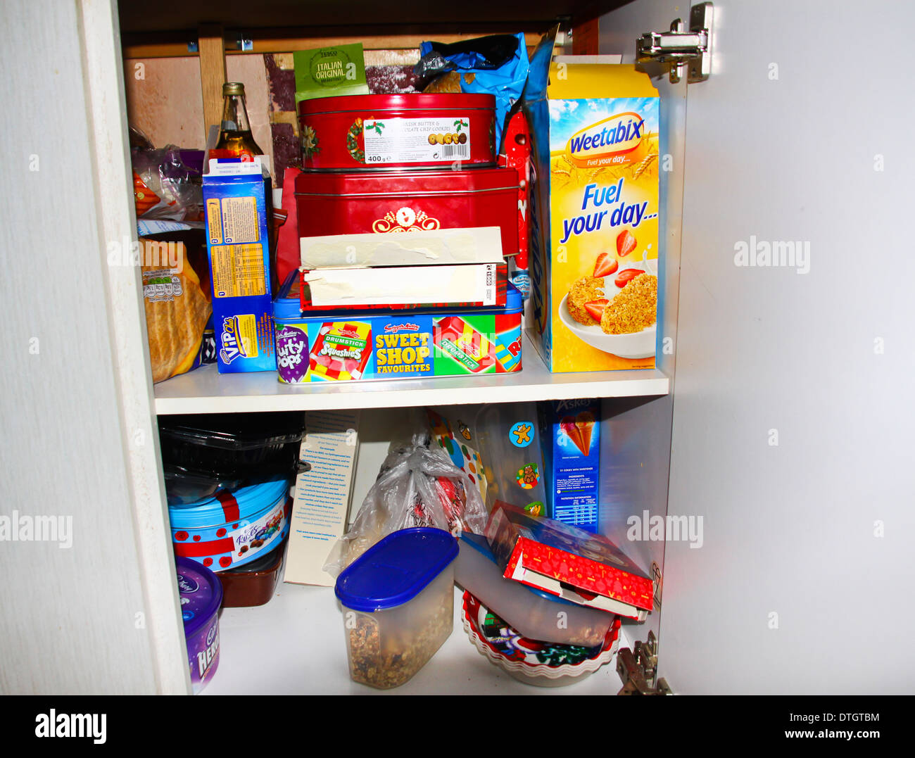 Kitchen food cupboard - Stock Image