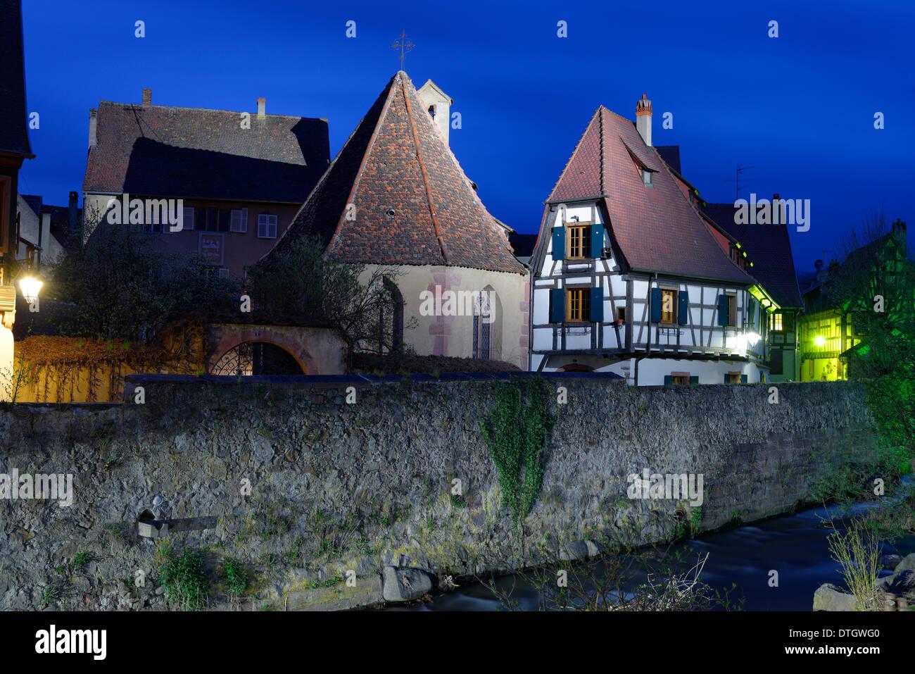 Oberhof Chapel above the Weiss River, Kaysersberg, Haut-Rhin, Alsace, France - Stock Image
