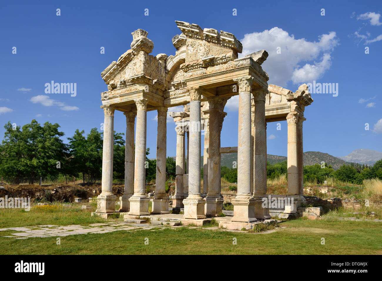 Antique tetrapylon at the archaelogical site of Aphrodisias, Caria, Aydin Province, Turkey - Stock Image