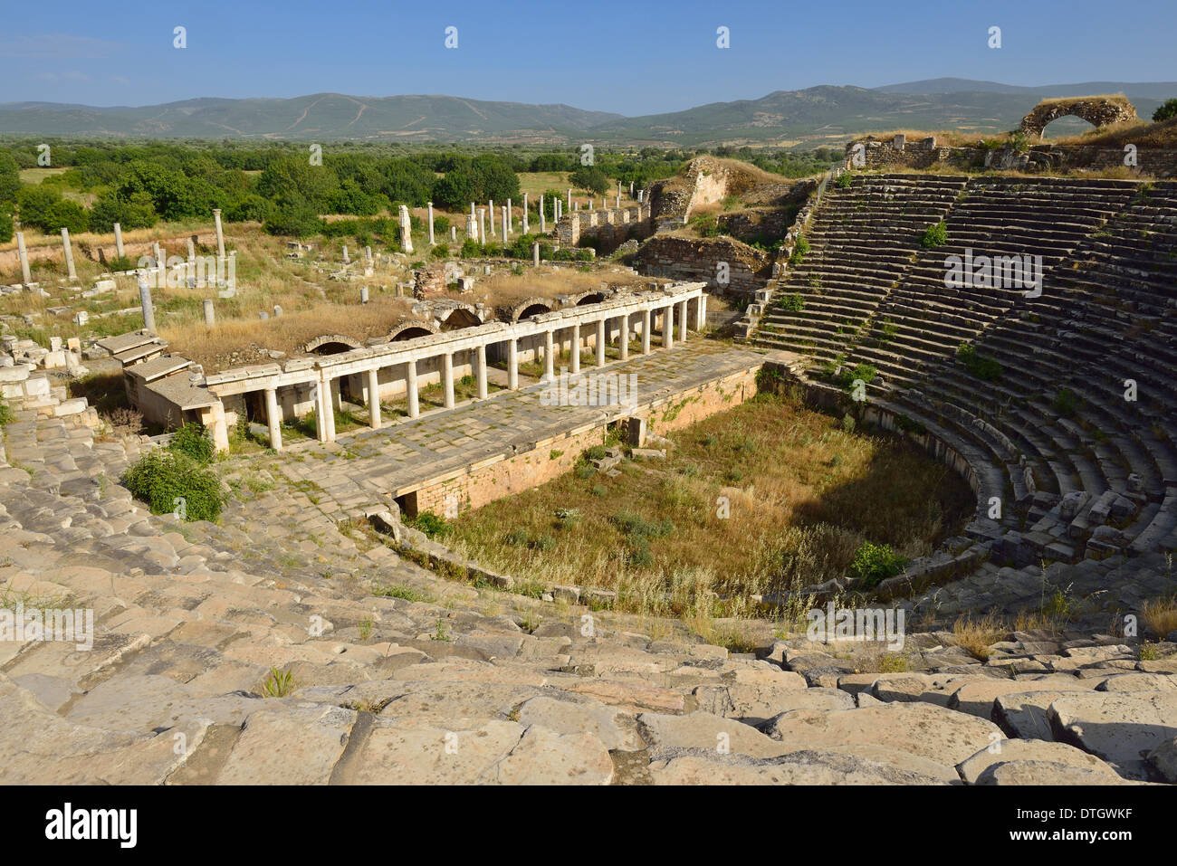 Antique theater, archaelogical site of Aphrodisias, Caria, Aydin Province, Turkey - Stock Image