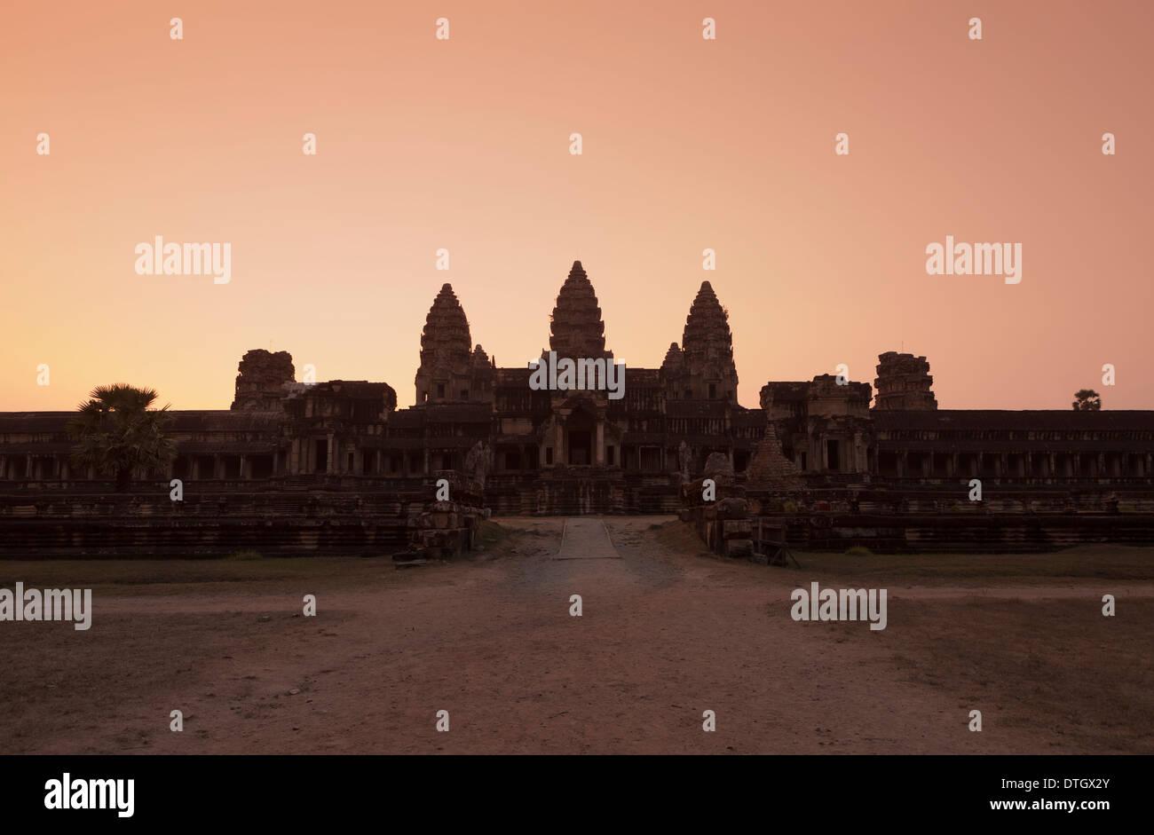 Eastern view of Angkor Wat at dusk, Cambodia - Stock Image