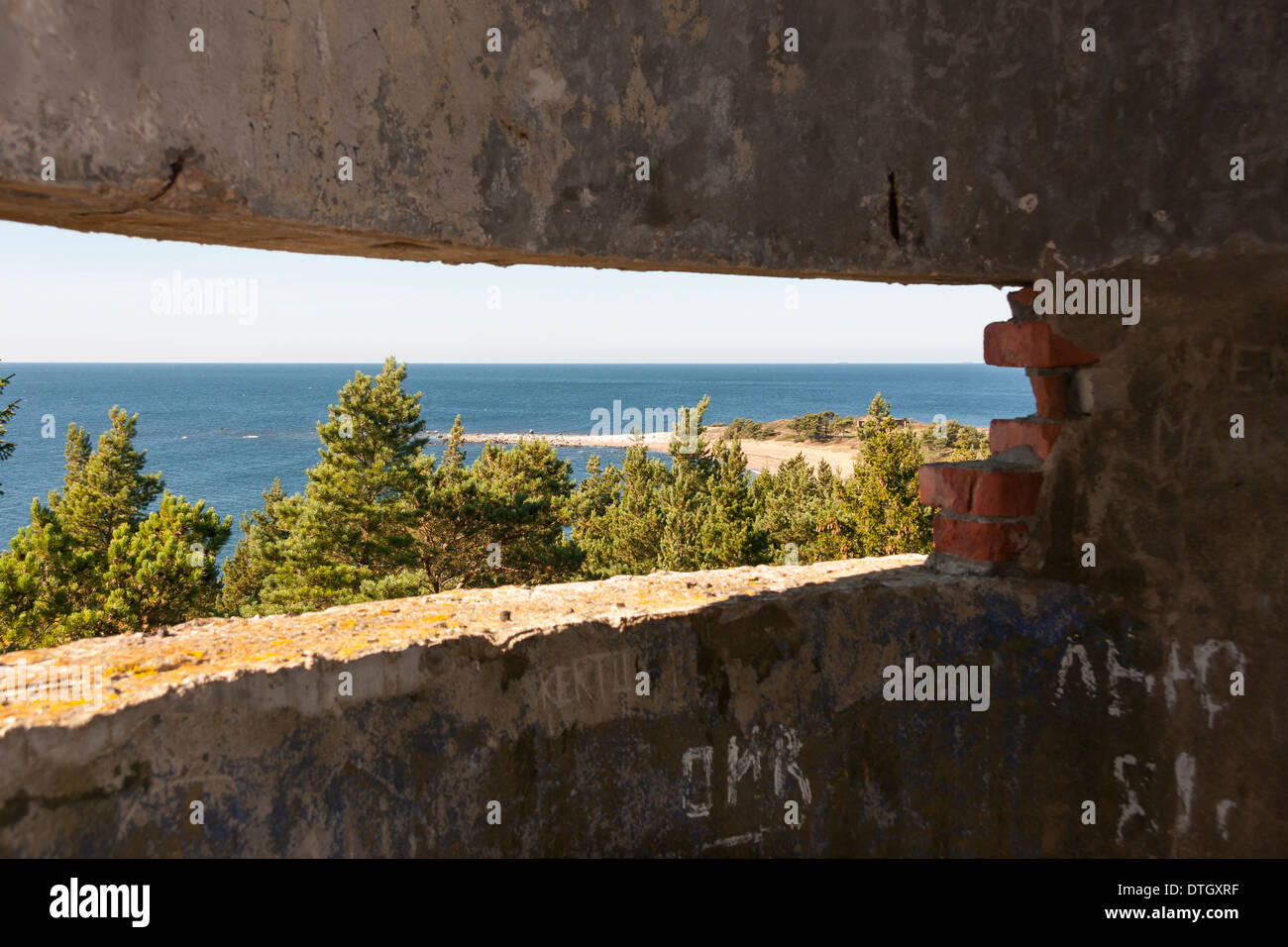 Landscape view from an old soviet time fortification tower Stock Photo