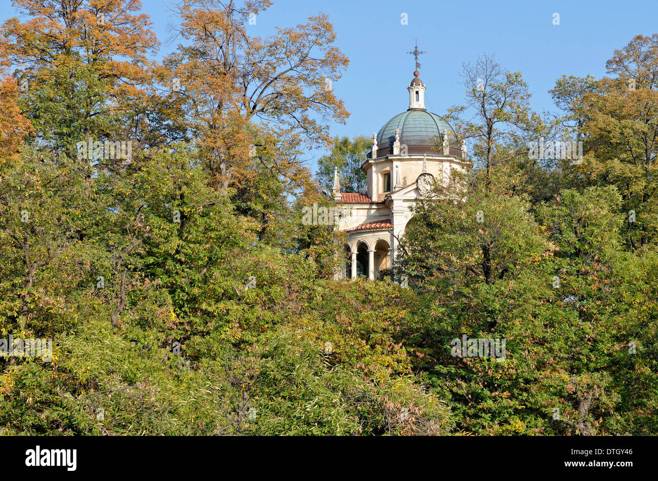 Chapel IV, historic pilgrimage route to the Sanctuary of Santa Maria del Monte on the Sacro Monte di Varese or Sacred Mount of - Stock Image