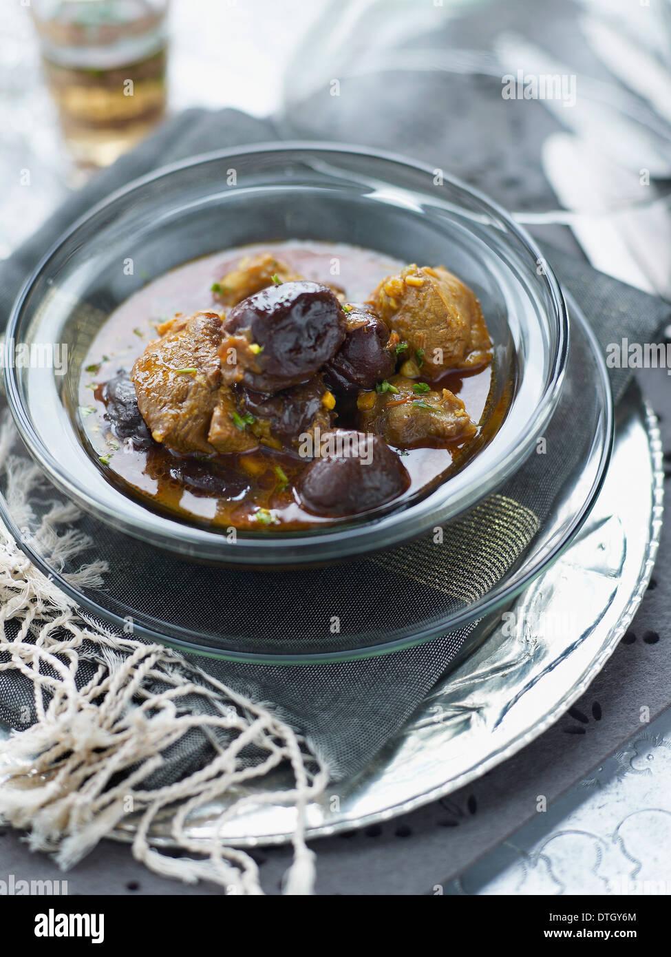 Lamb,prune and honey Tajine Stock Photo