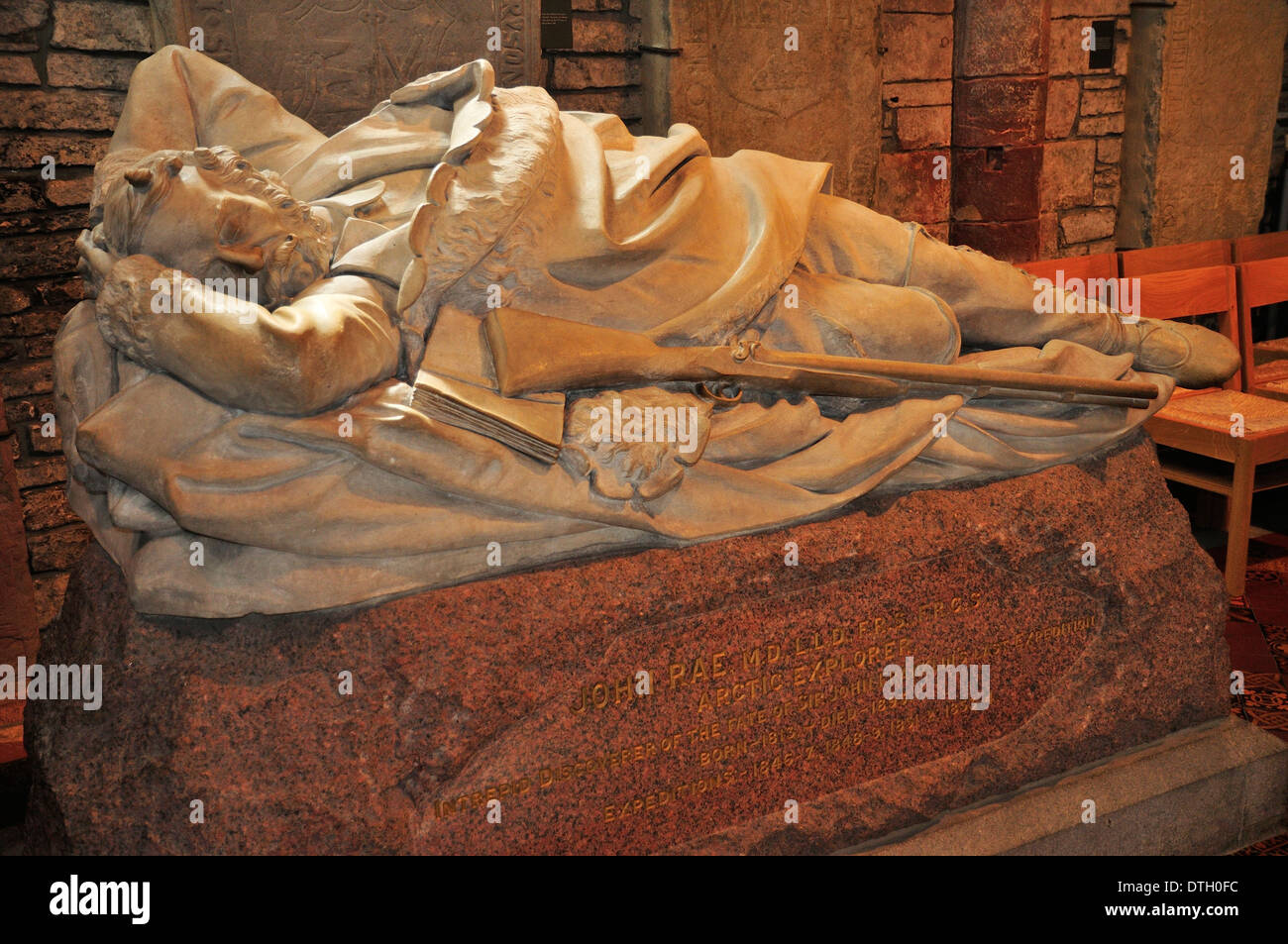 Monument to the arctic explorer John Rae, St. Magnus Cathedral, Kirkwall, Mainland, Orkney, Scotland, United Kingdom - Stock Image