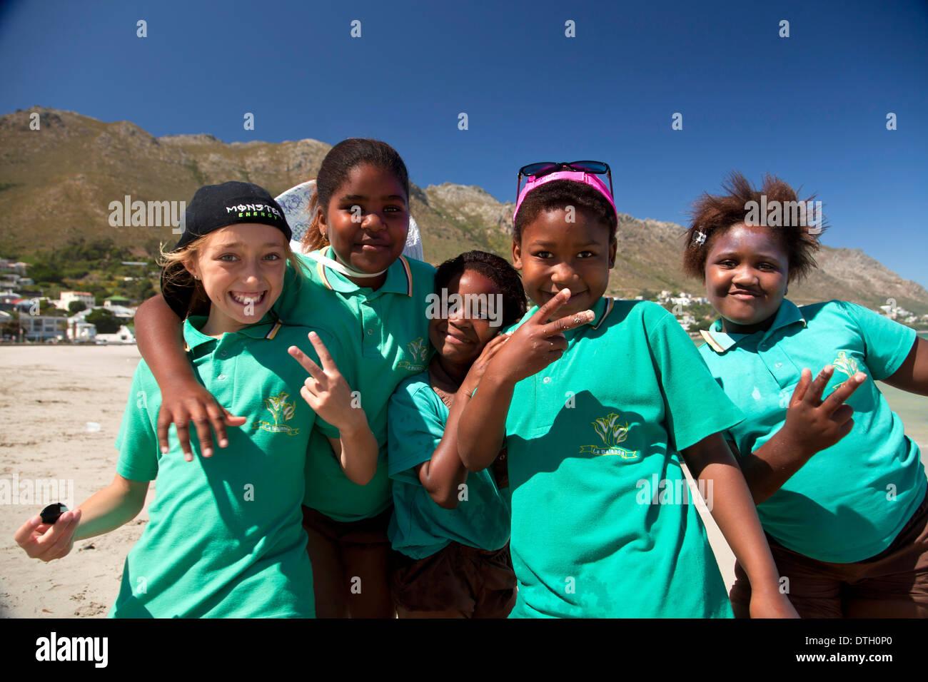 Schoolchildren in Gordon's Bay, Western Cape, South Africa Stock Photo