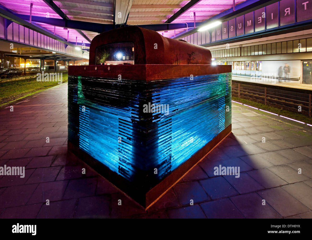 Iron and glass sculpture at the museum platform with the disused tracks 4 and 5 of Oberhausen central railway station - Stock Image