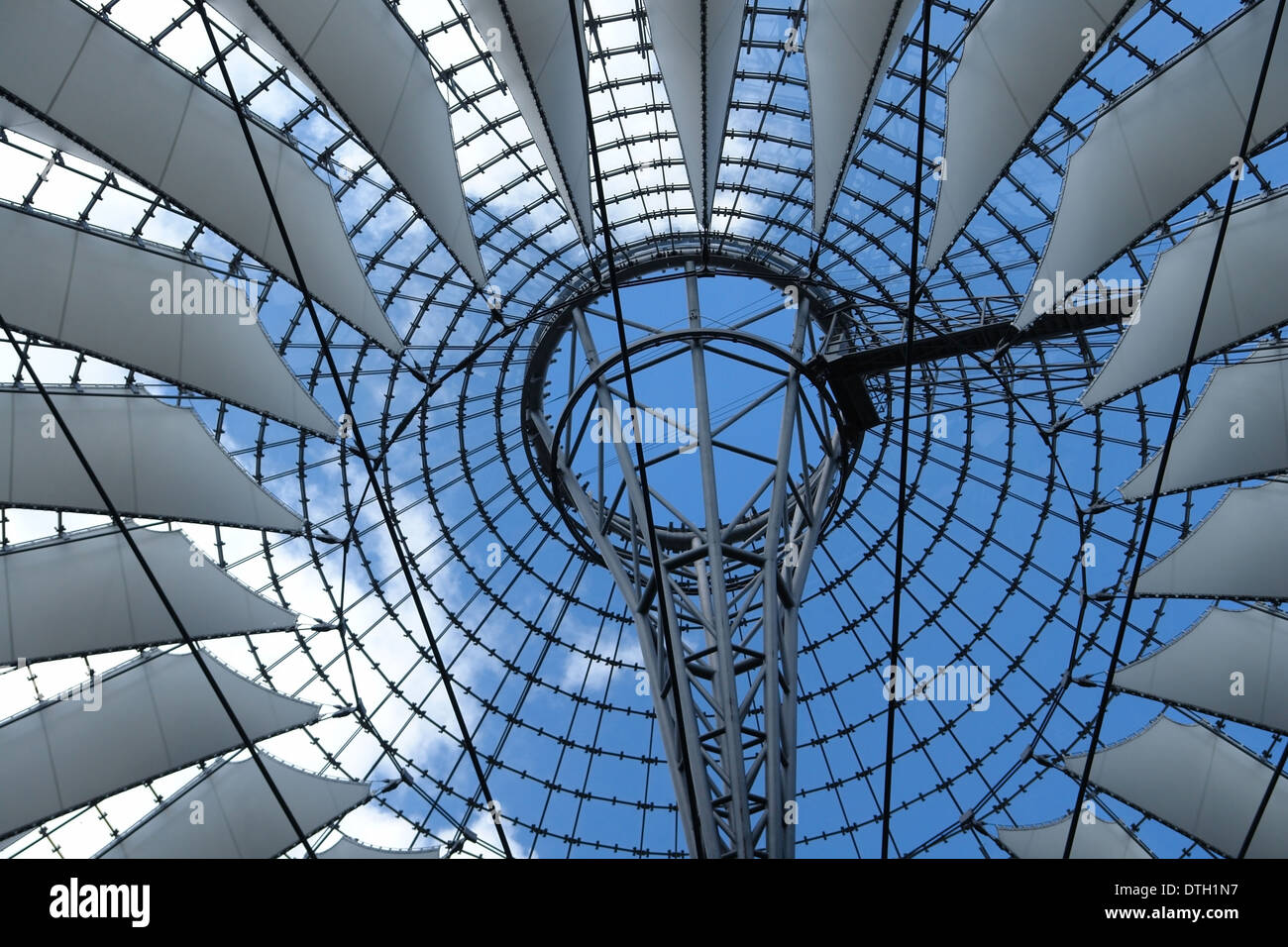architectural detail of the Sony Center at the 'Potsdamer Platz' in Berlin (Germany) - Stock Image
