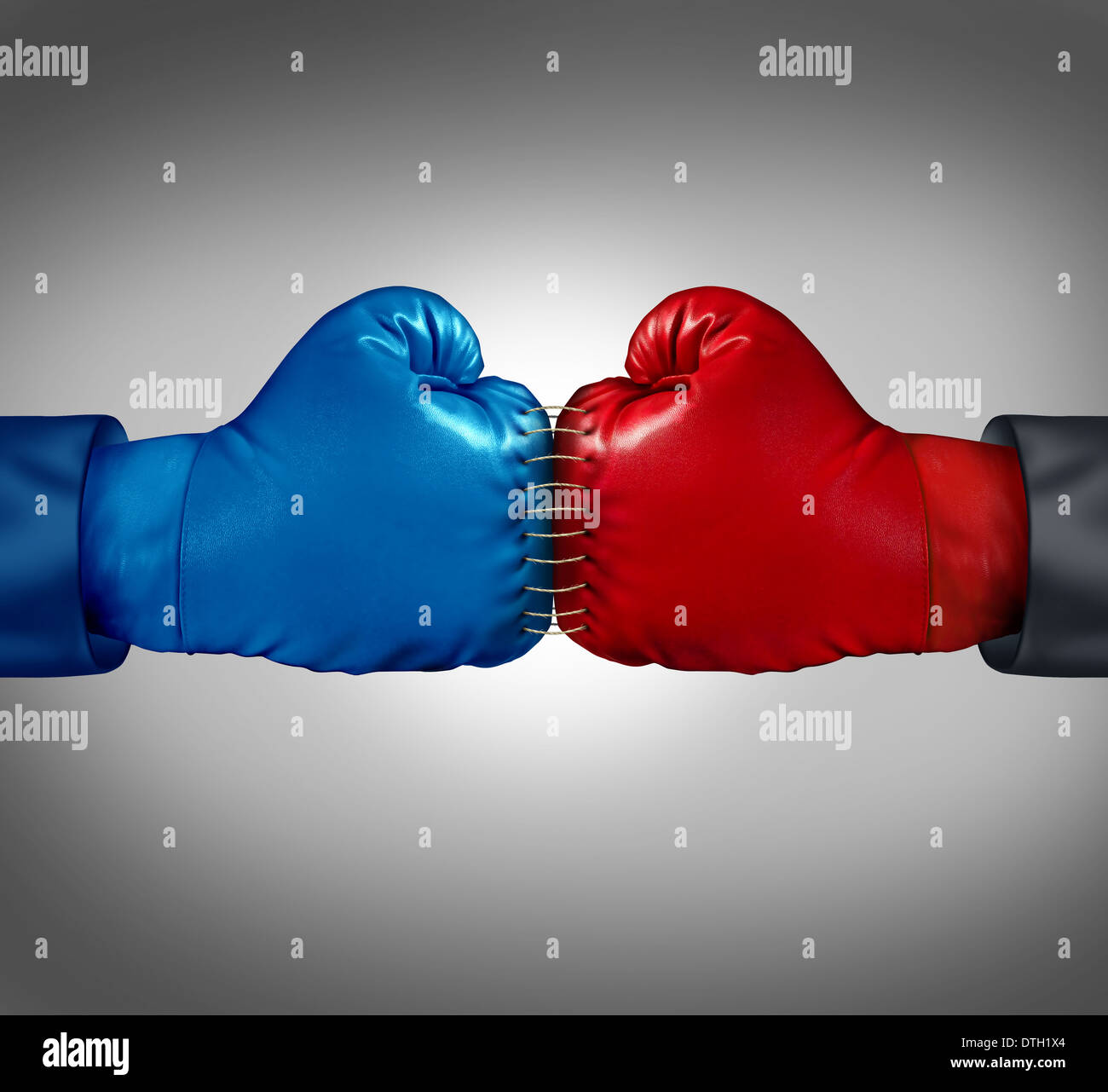Merge powers business concept as two boxing gloves sewed and stitched together with thread as a metaphor for competitors - Stock Image