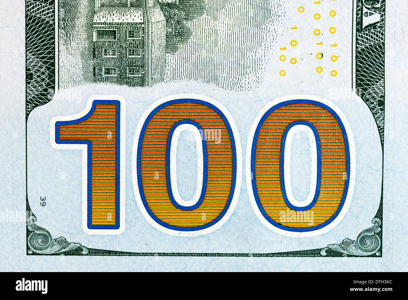 us 100 dollar bill - Stock Image