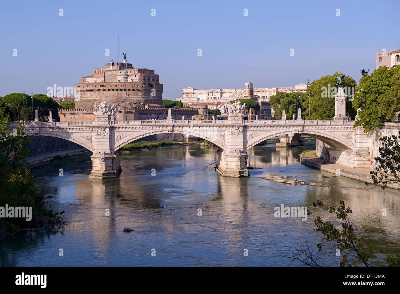 Vittorio Emanuele II bridge over the Tiber river Stock Photo