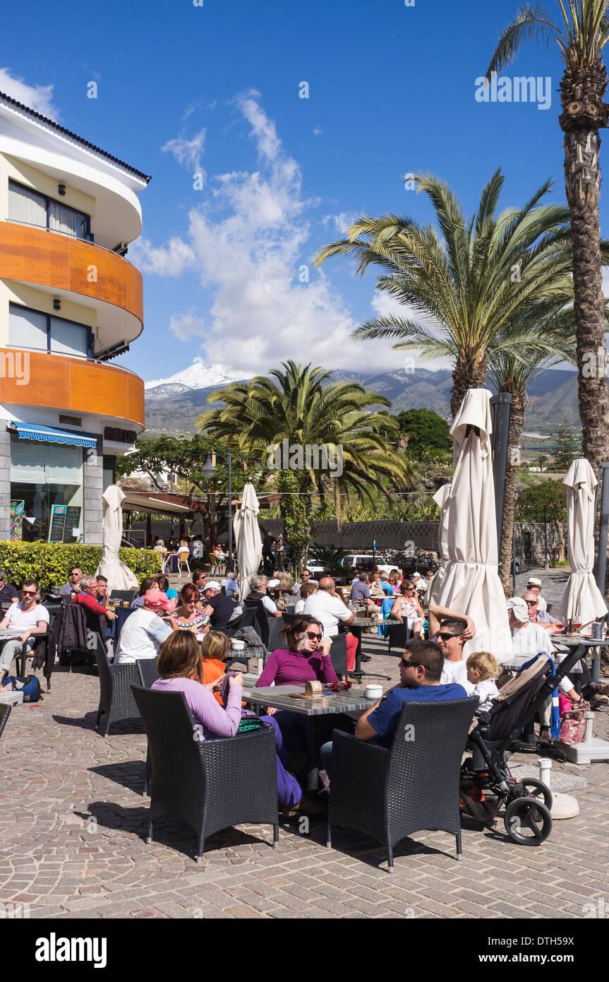 At An Outdoor Restaurant Cafe Bar In Playa San Juan Tenerife Stock Photo Alamy