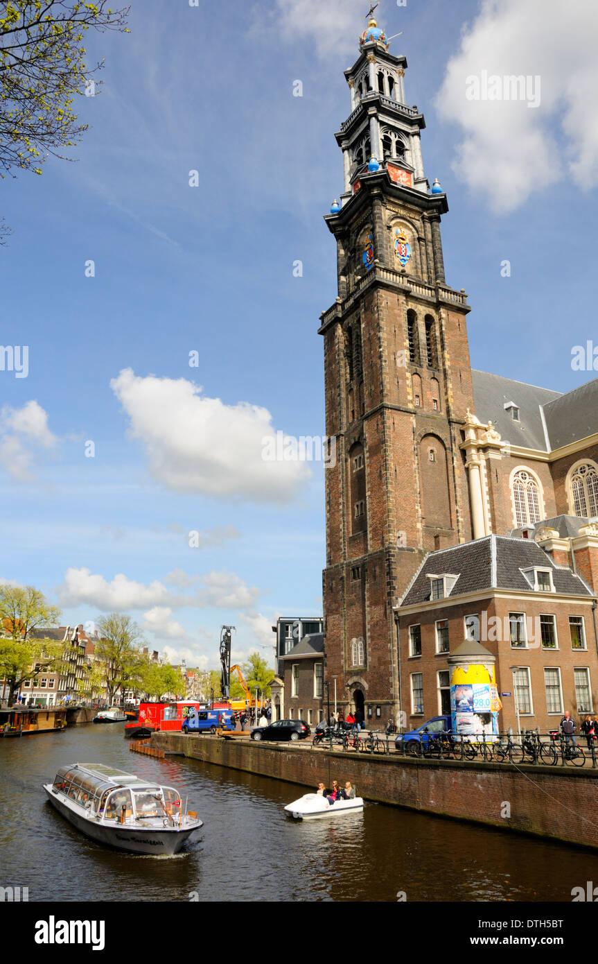 Amsterdam, Netherlands. Westerkerk (church - 1620-38) on Prinsengracht (canal). - Stock Image