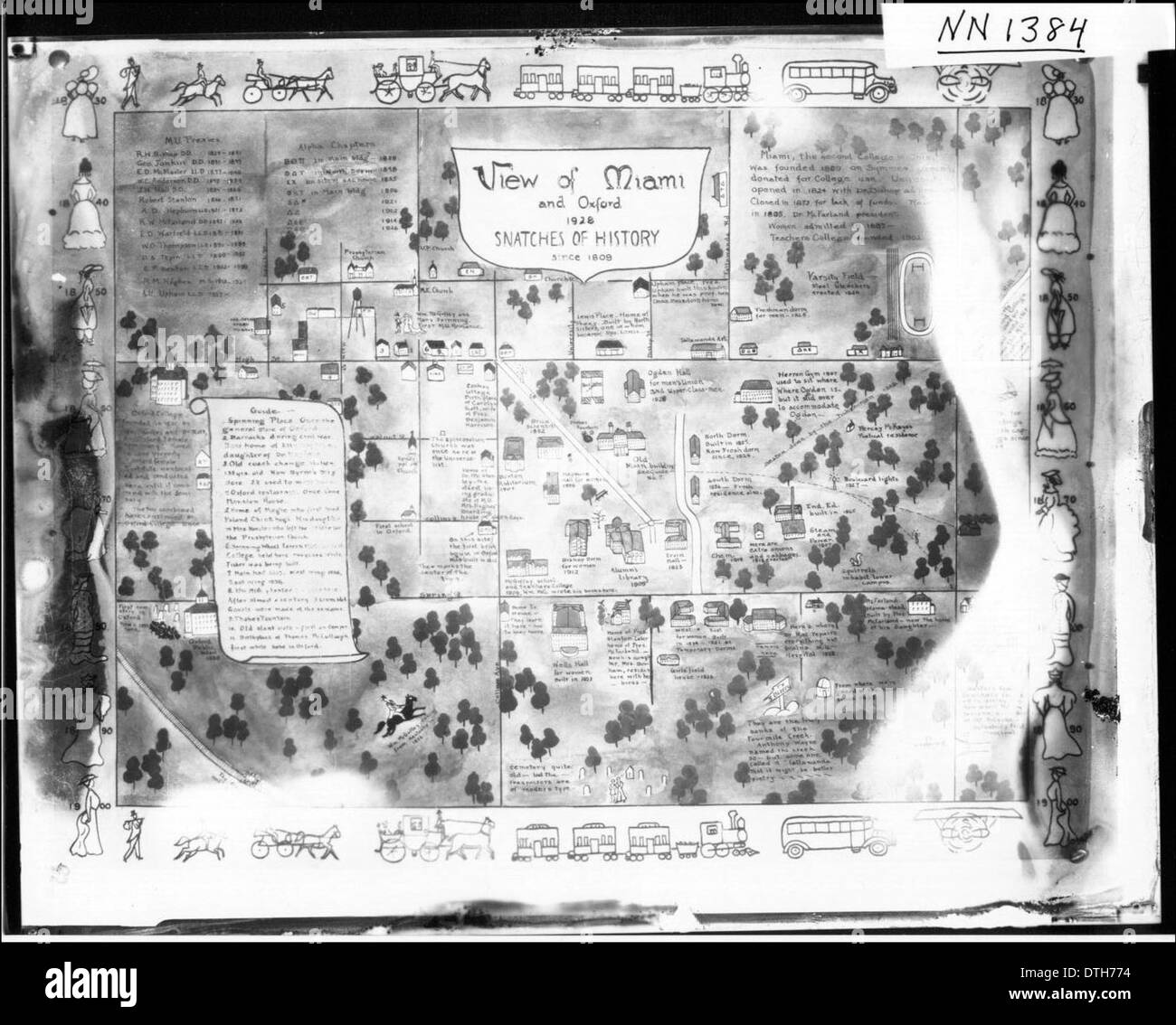 Illustrated Map Of Miami University Campus And Oxford Ohio Ca 1928