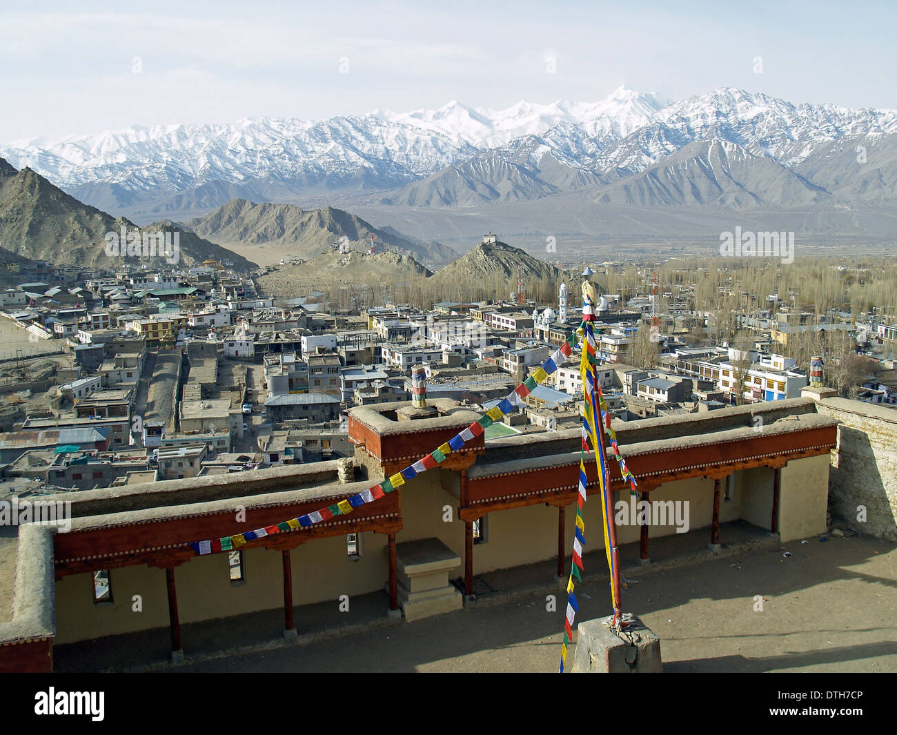The Himalayan Mountains from Thiksey Monastery,Ladakh - Stock Image