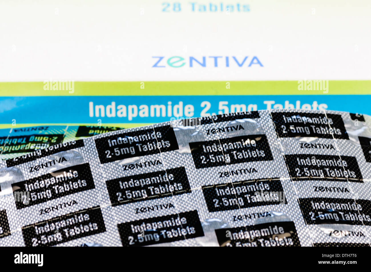 Indapamide 2.5mg tablets, a diuretic (water tablet) used in the treatment of high blood pressure. - Stock Image