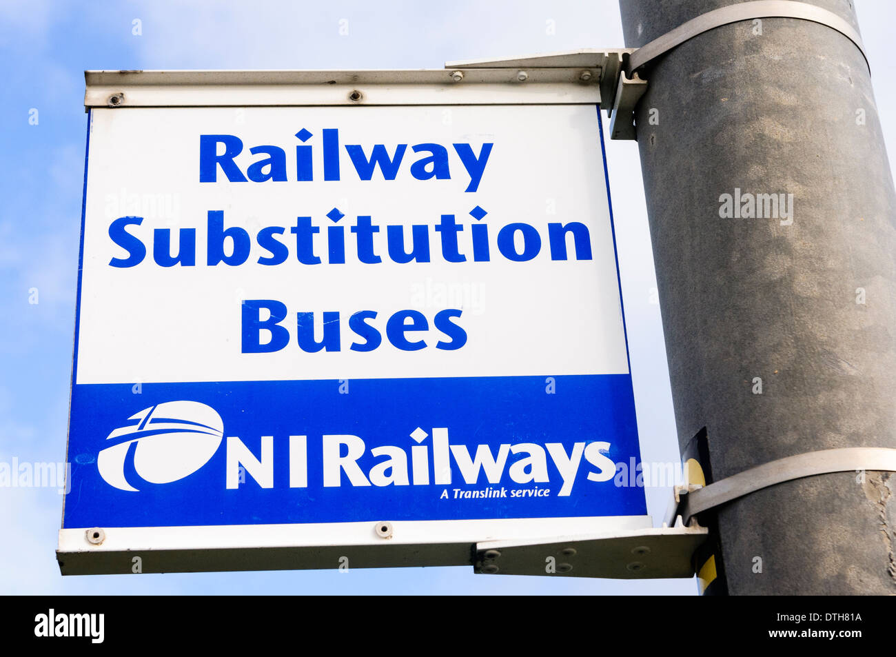 Sign saying 'Railway Substitution Buses' for Northern Ireland Railways NI, run by Translink - Stock Image