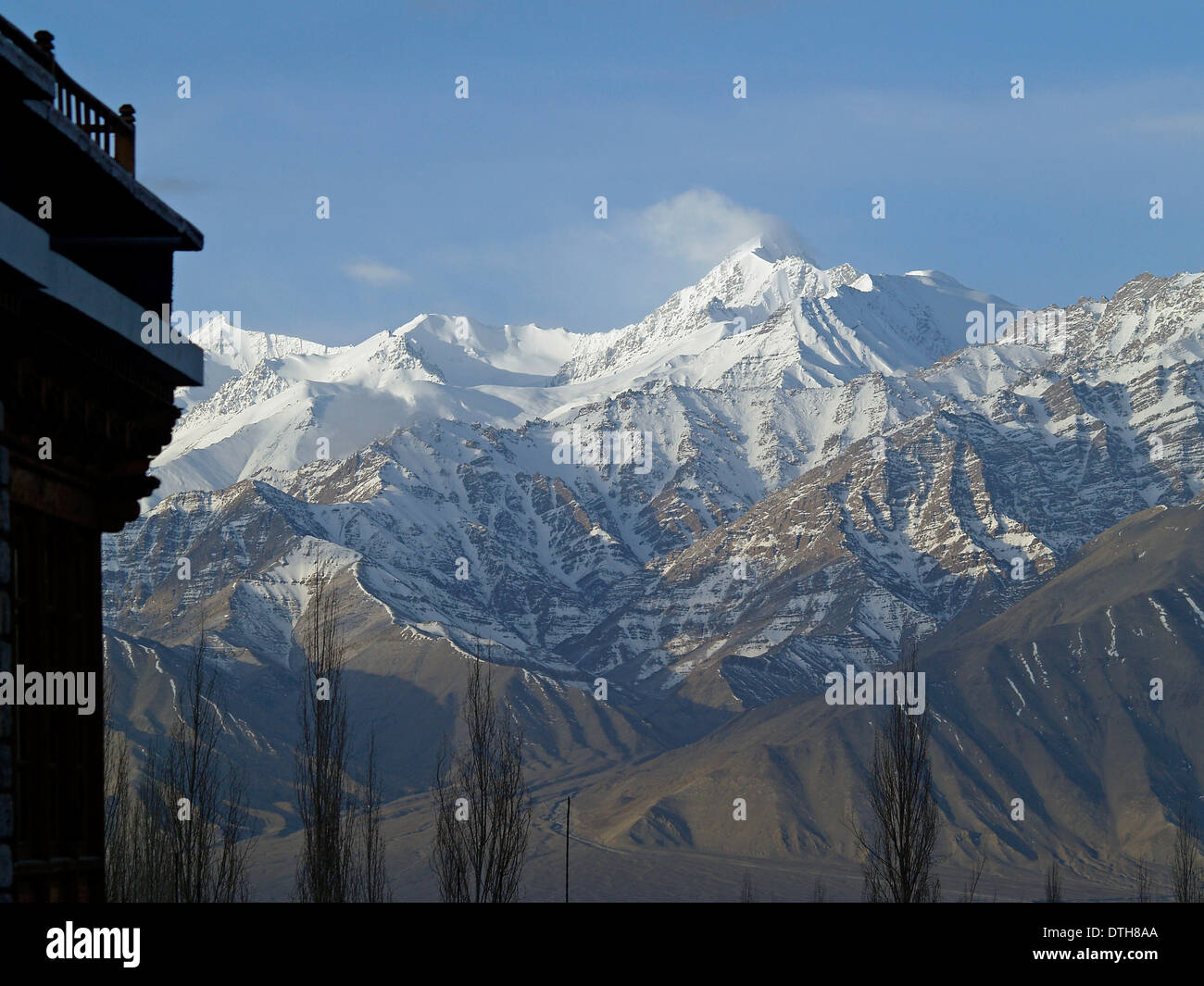 The snowcapped peaks of the Himalayan Mountains from Leh,Ladakh - Stock Image