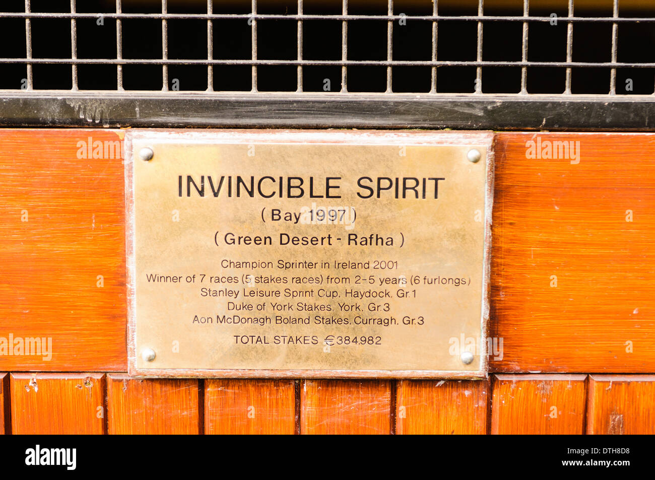 Nameplate for Invincible Spirit stud horse at the Irish National Stud. - Stock Image