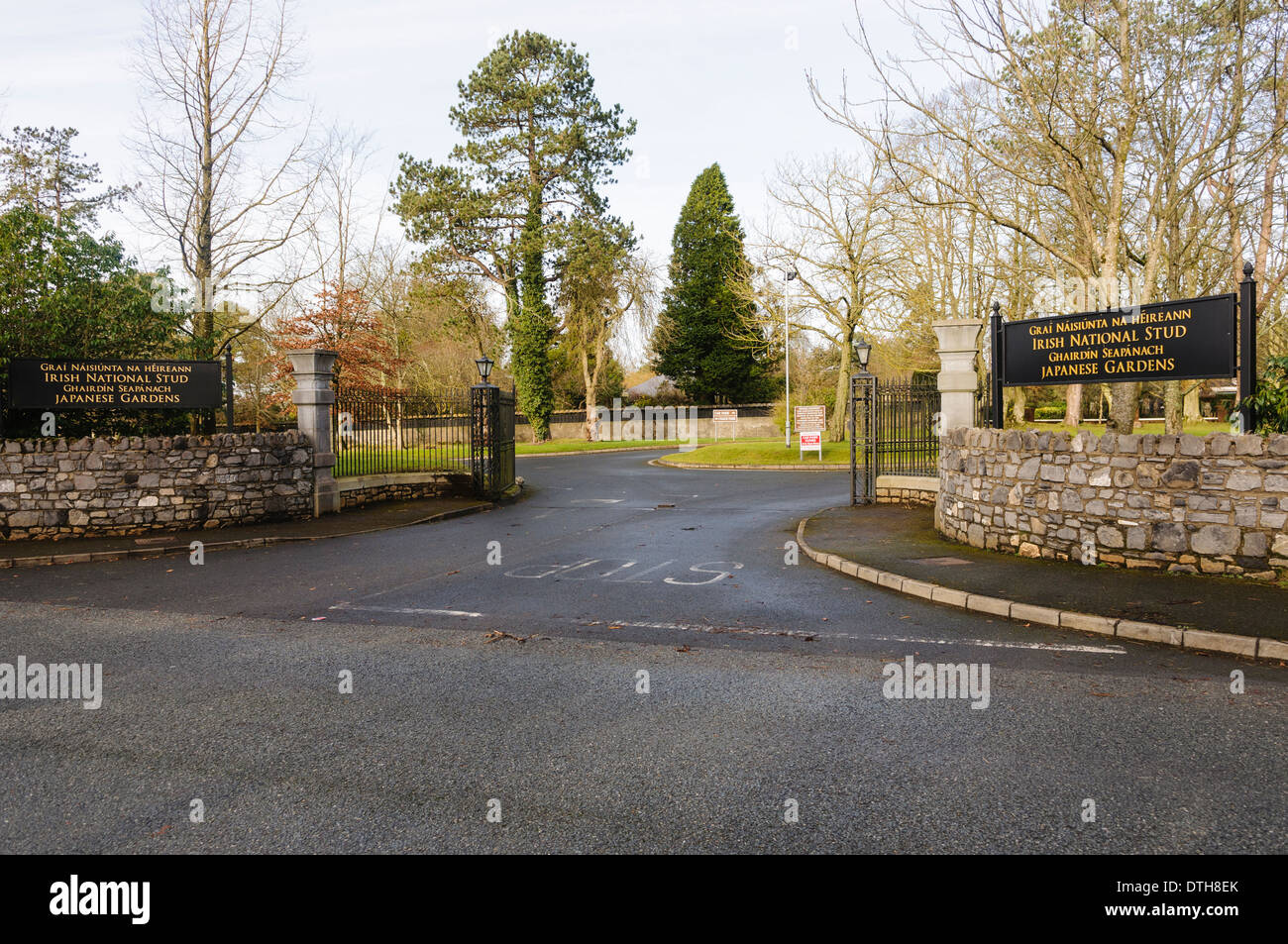 Signs at the entrance to the Irish National Stud and Japanese Gardens in Kildare, Ireland - Stock Image