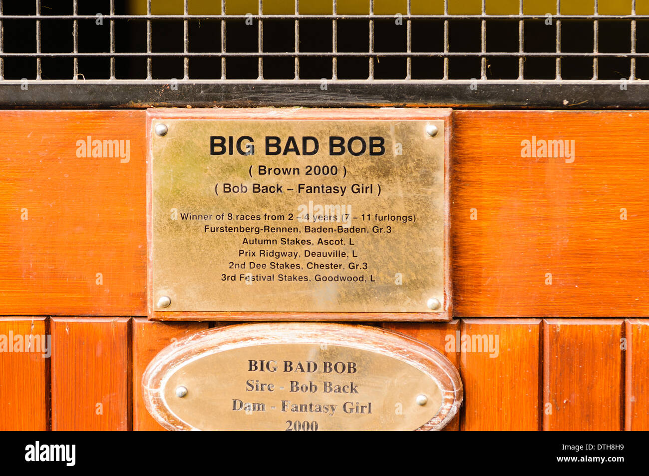Nameplate for Big Bad Bob stud horse at the Irish National Stud. - Stock Image