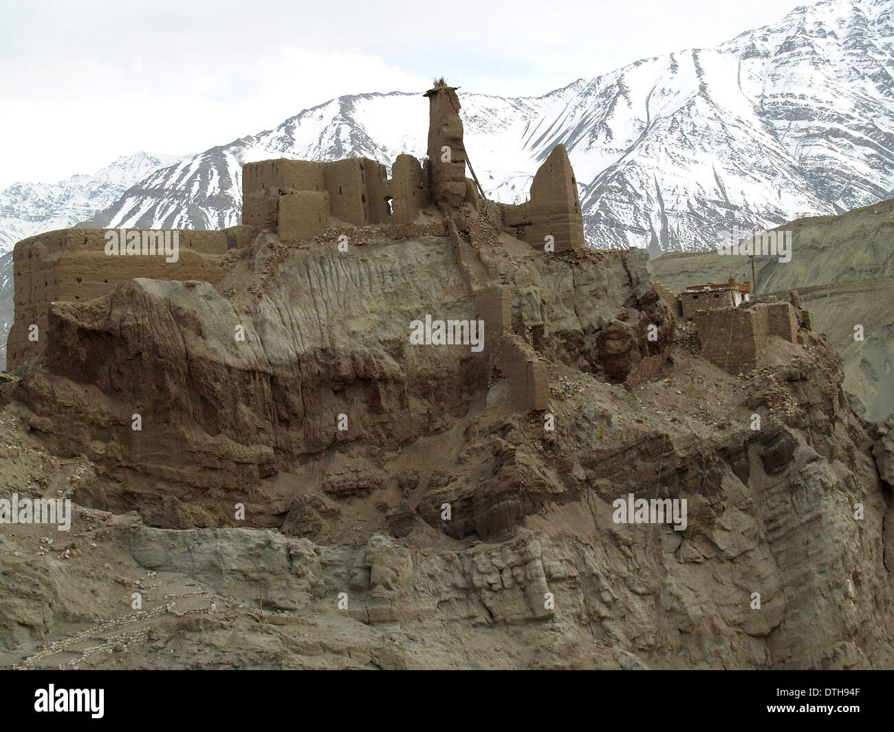 The Basgo Citadel sits framed by the Himalayan Mountains,Ladakh,India - Stock Image