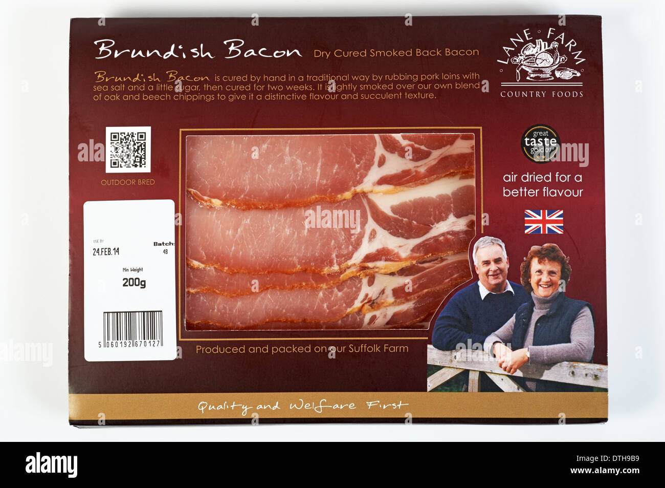 Lane Farm Country Foods Brundish dry cured back bacon - Stock Image