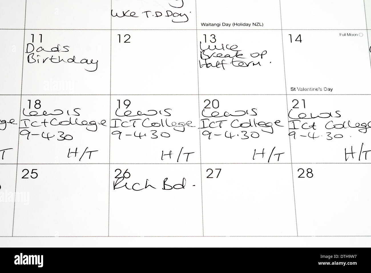 photograph relating to Calendar Notes called Hand published notes upon a calendar Inventory Image: 66763795 - Alamy