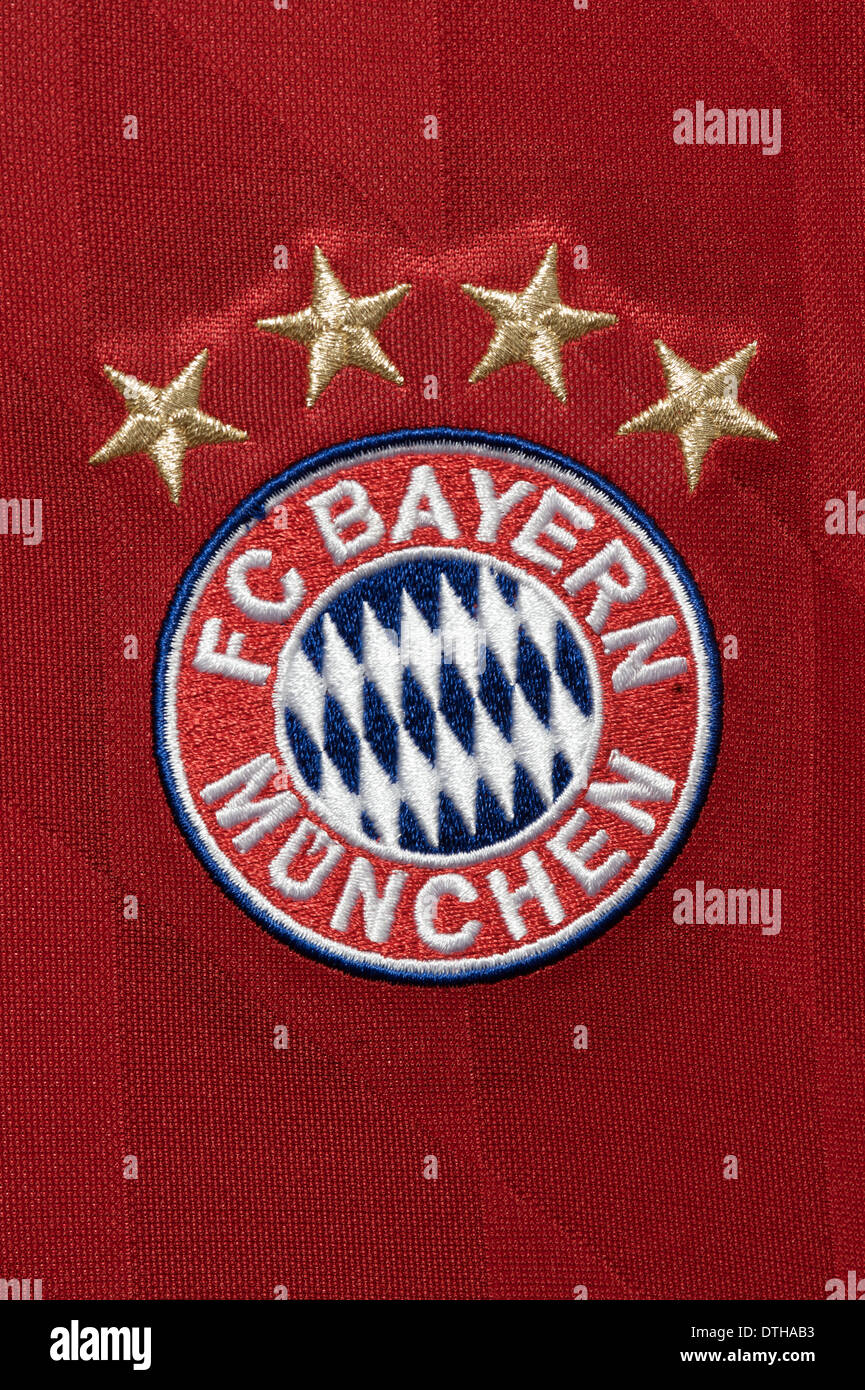 Close up of the FC Bayern Munchen team kit - Stock Image
