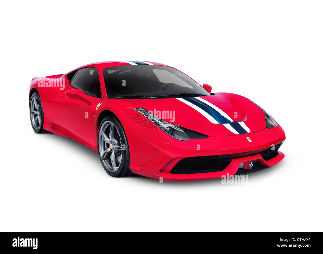 Red 2014 Ferrari 458 Speciale Sports Car Isolated On White Background With  Clipping Path   Stock