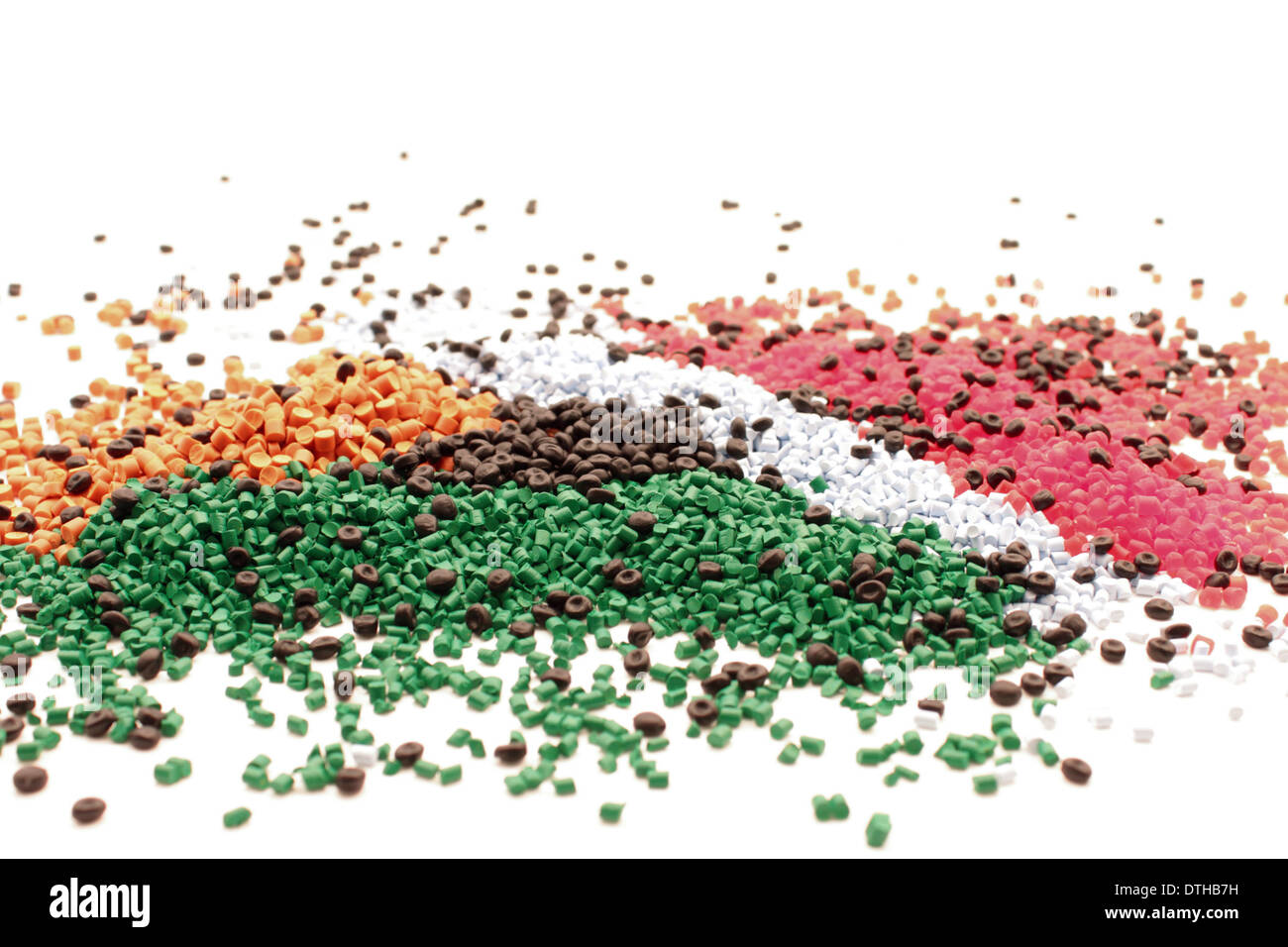 Background of polymers, many colors plastic. Stock Photo