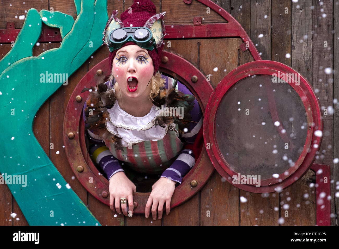 Blackpool, Lancashire, UK 18th February, 2014. Actress Alice Bounce, 27 from London at St John's Square where 'The Stock Photo