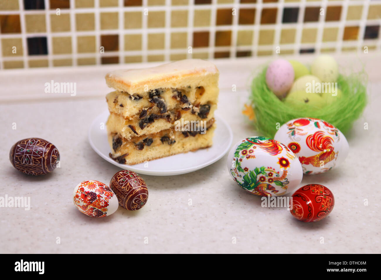Painted Colorful Easter Eggs and patty cake - Stock Image