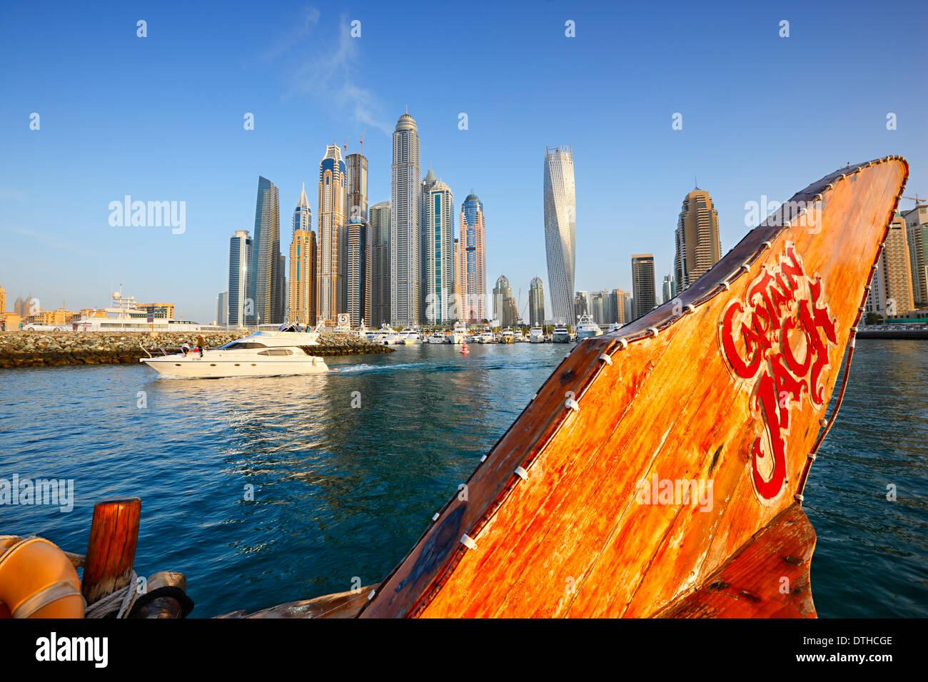 Dubai dhow boat, Marina - Stock Image