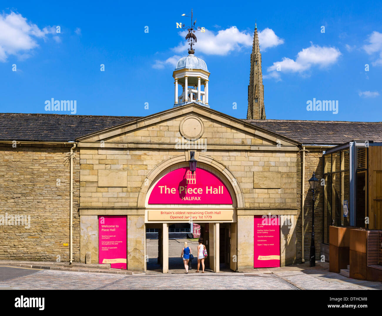 Entrance to the historic 18thC Piece Hall in the centre of Halifax, West Yorkshire, England, UK - Stock Image