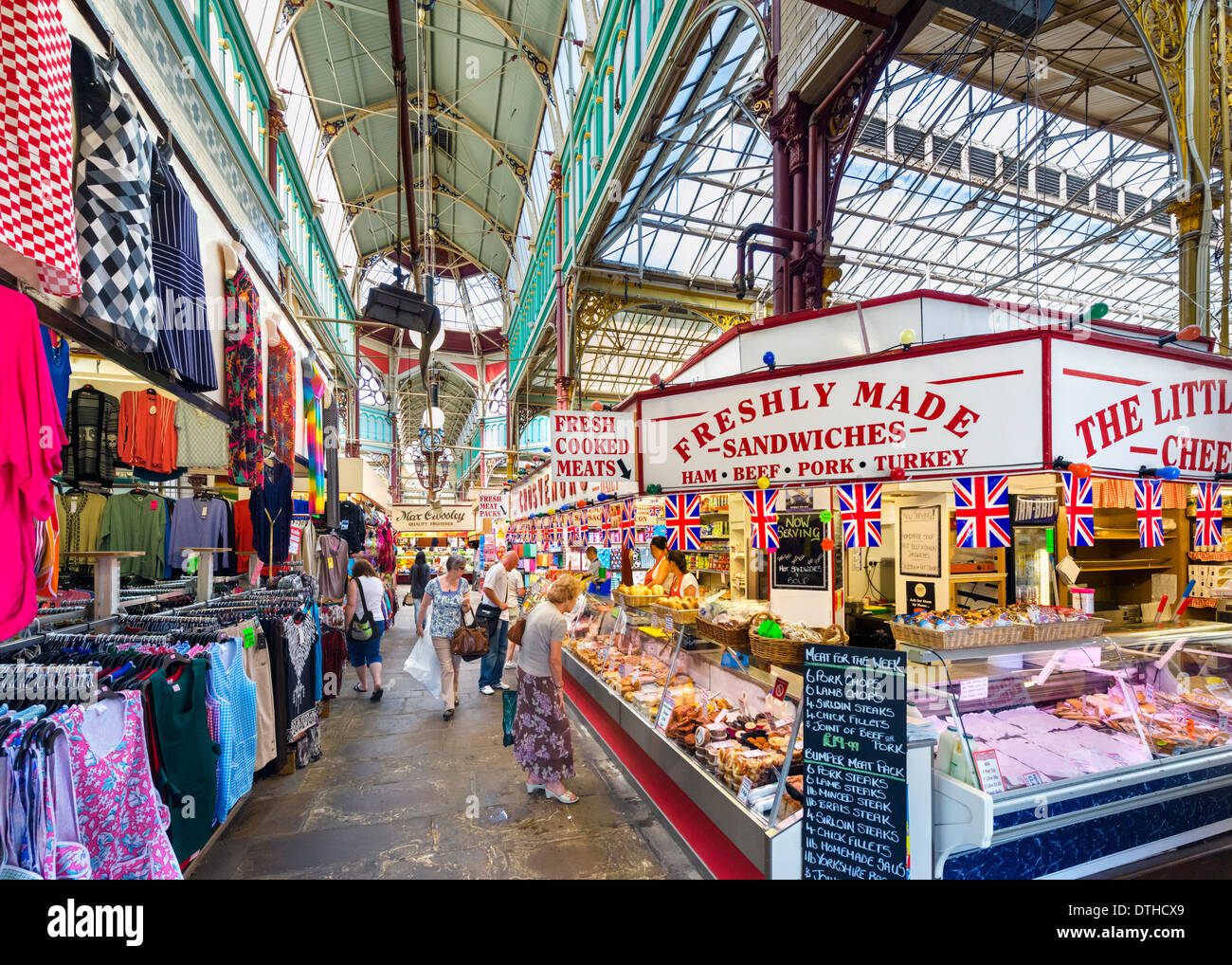 Halifax Borough Market in the city centre, Halifax, West Yorkshire, England, UK - Stock Image