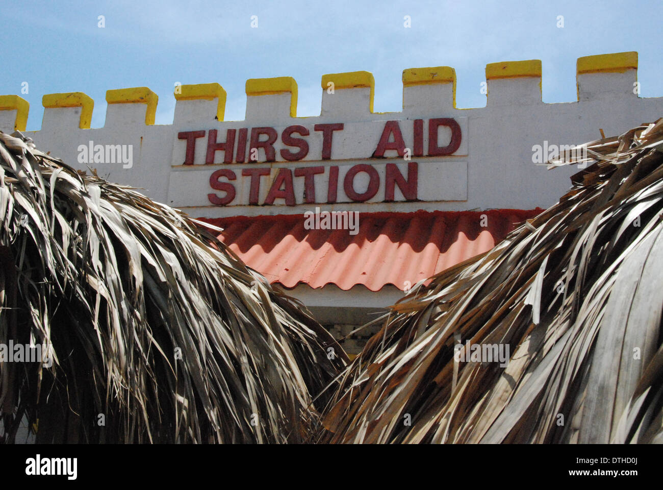 2009, Exterior view of a bar in Aruba, called the Thirst Aid Station, Aruba Island, Caribbean, Lesser Antilles. - Stock Image