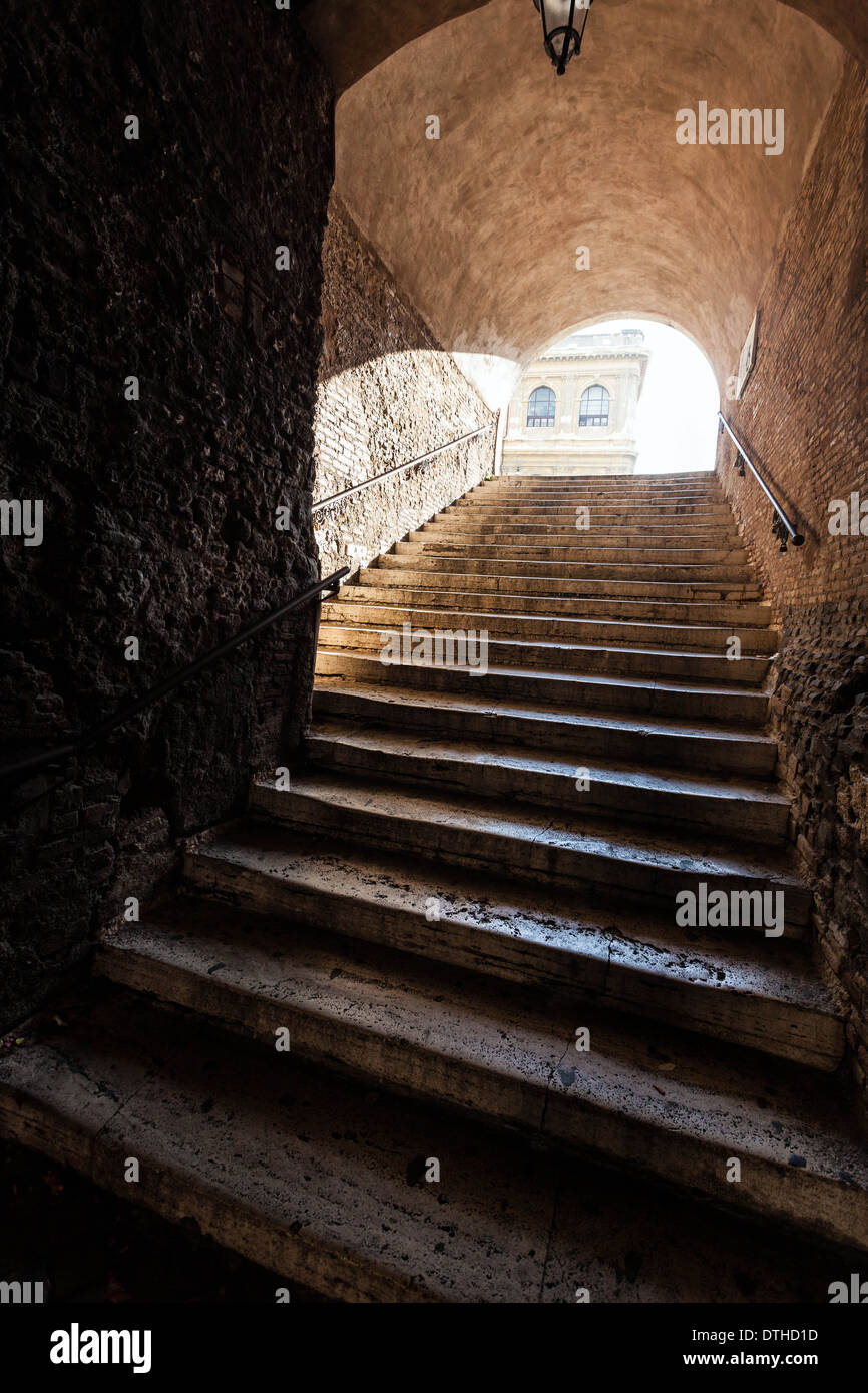 Stone staircase, Rome, Italy. - Stock Image