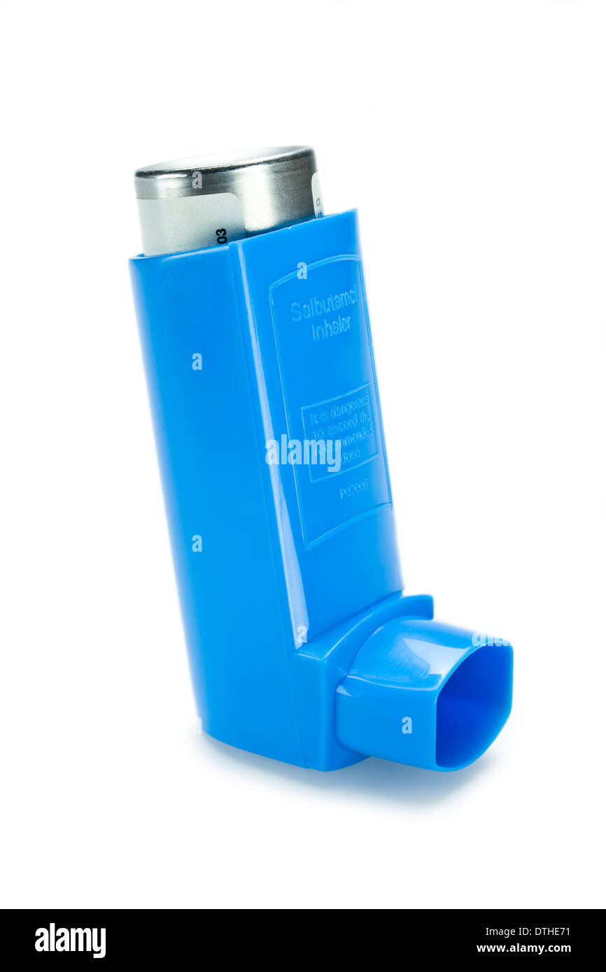 Blue reliever inhaler salbutamol inhaler asthma on a white background - Stock Image