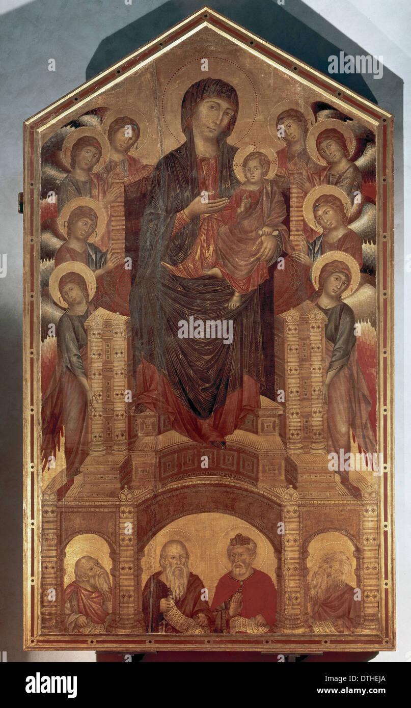 Cimabue (c.1240-1302). Florentine painter. Maesta, 1280-1285. Uffizi Gallery. Florence. Italy. - Stock Image