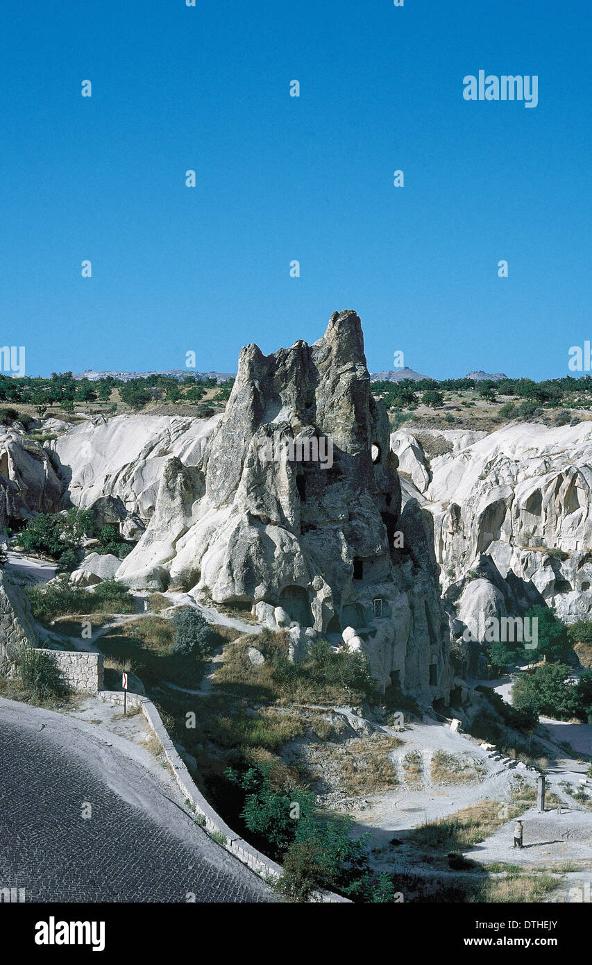 Turkey. Goreme. Dwellings carved into the rock. Cappadocia. - Stock Image