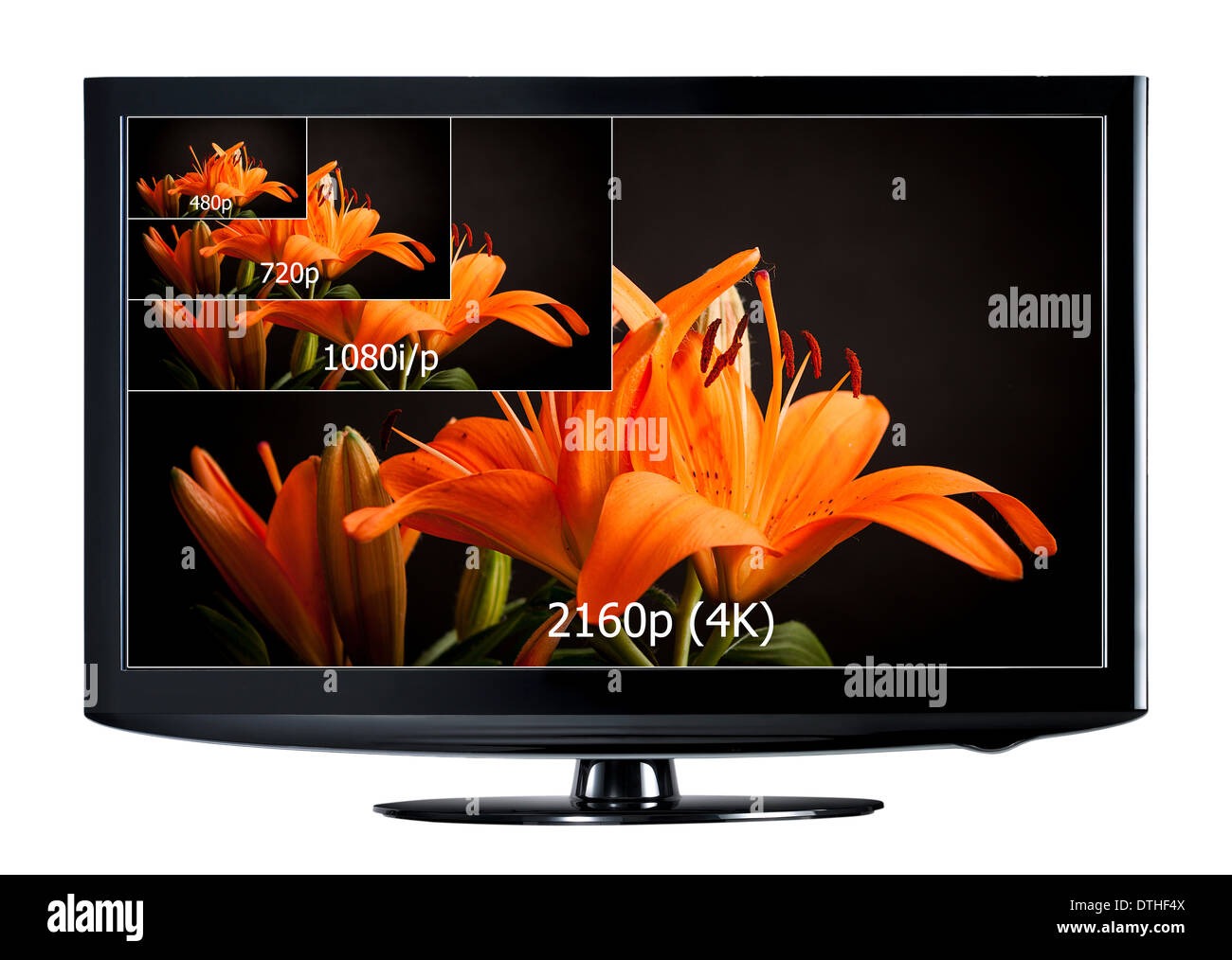 4K television display with comparison of resolutions. Ultra HD on on modern TV - Stock Image